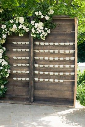 Hanging Place Cards...from our arbor?