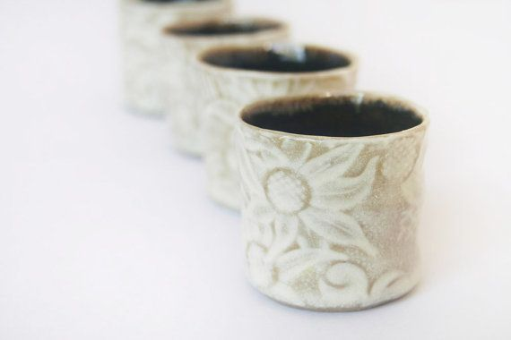 Shot cups or sake cups  set of 4 in Australian by DMPottery, $46.00