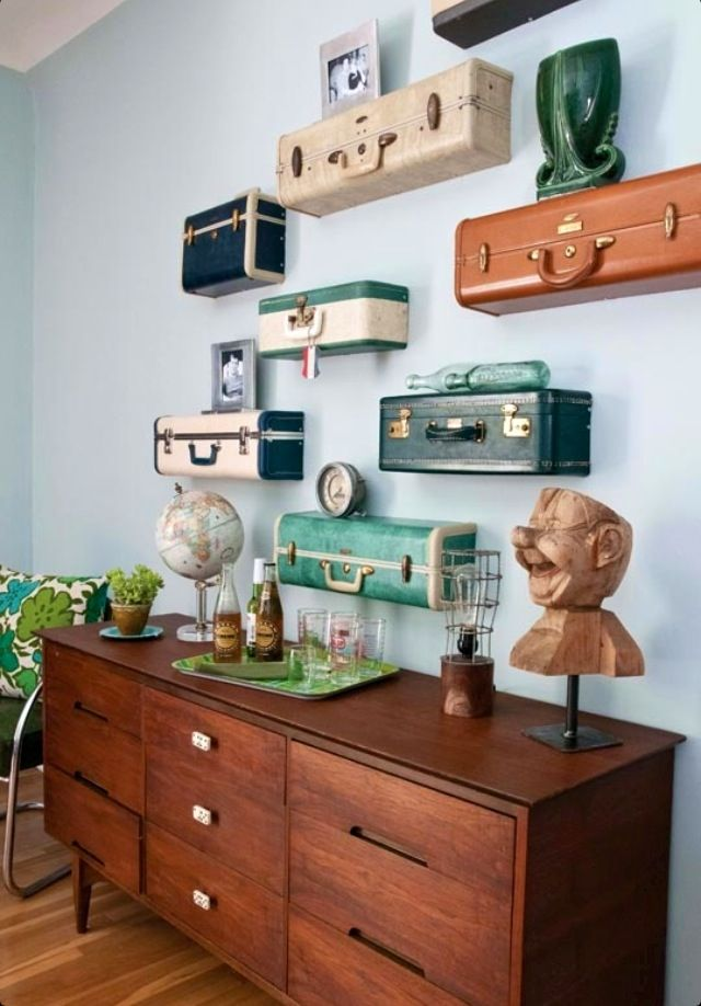 Travel themed decor - Suitcase shelves.  I love this!