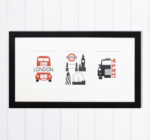 "16x9""/40x23cm Modern London Red Bus Black Cab London Bridge Multi Framed Art   eBay"