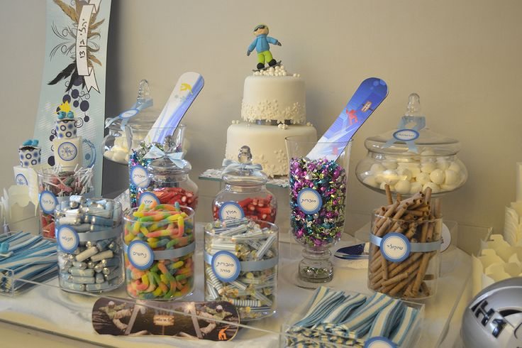 Snowboard Bar Mitzvah Party sweet table design