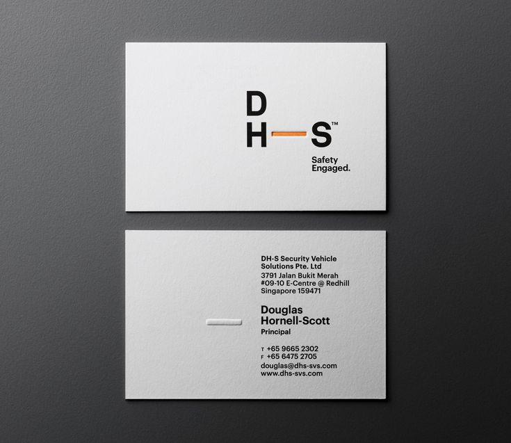 Business card design by &Larry for security vehicle solutions specialist DH—S.