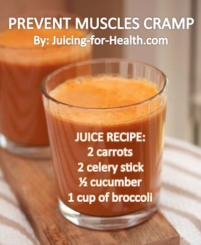 Help prevent muscle cramps with this juice.  Juice On!