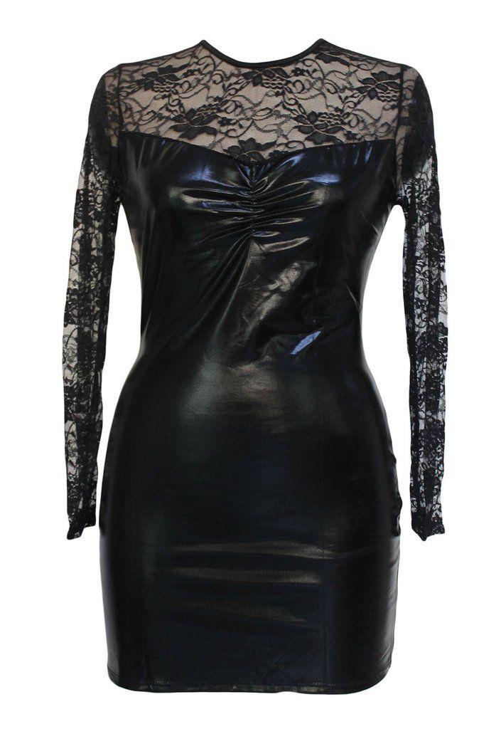 Vinyl & Leather Lingerie Noir Wetlook Et Dentelle Extensible Mini Robe #SimiliCuir– Modebuy.com