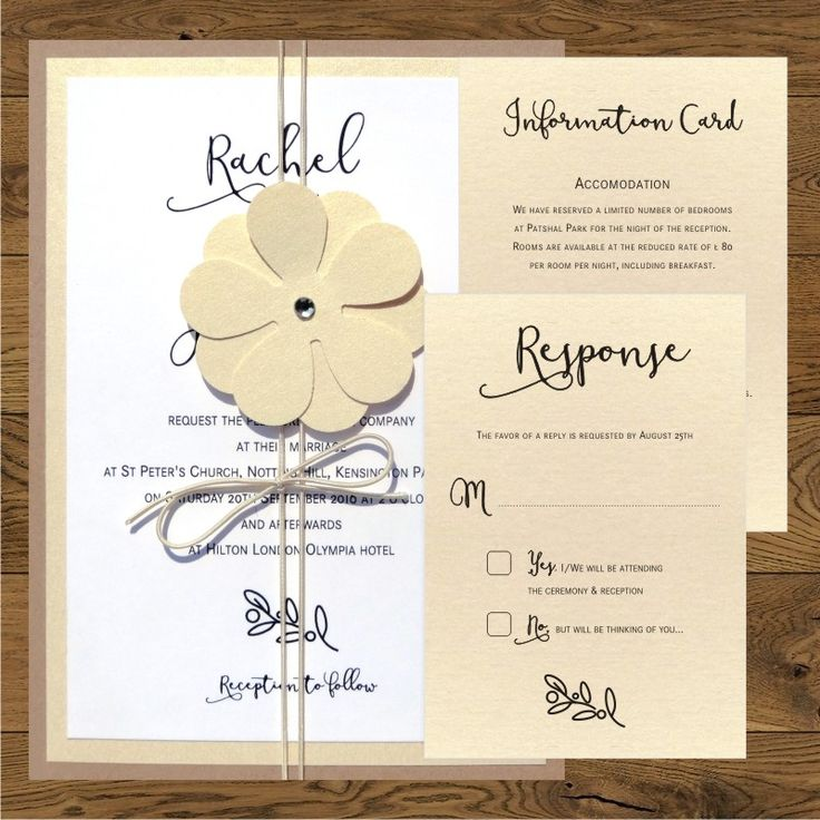 Wedding invitations with gold flower