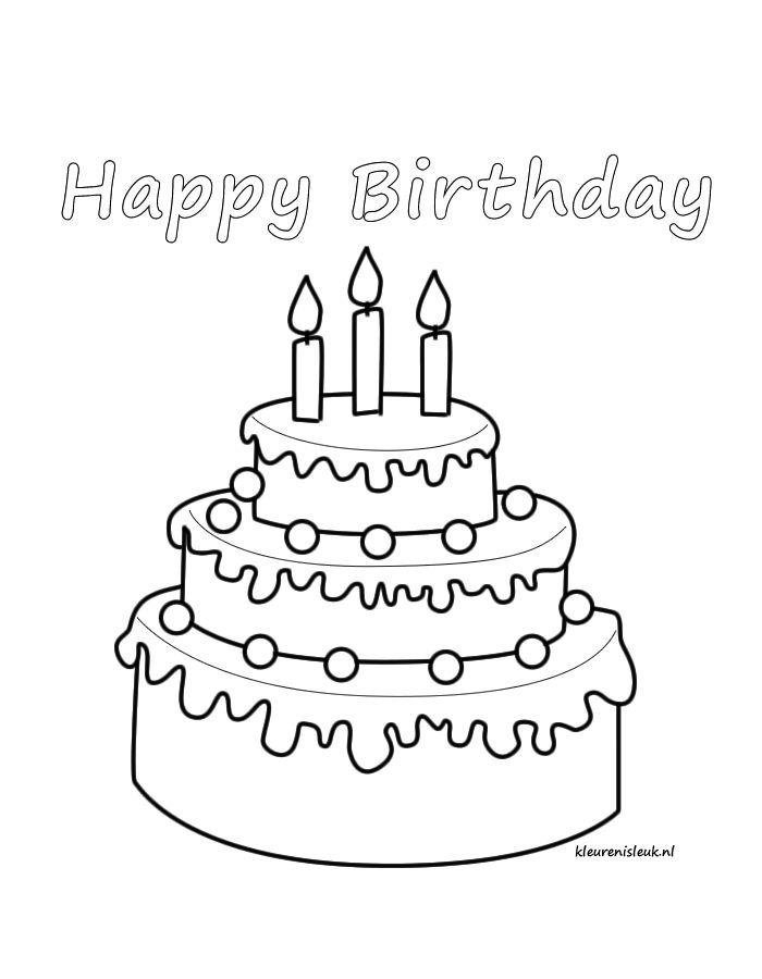 Kleurplaat Verjaardag 8 Jaar Taart Happy Birthday Kleurplaat Op Www Kleurenisleuk Nl