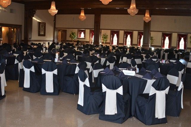 black wedding table cloth and chair covers | ... with black chair covers and black tablecloths are beautiful together