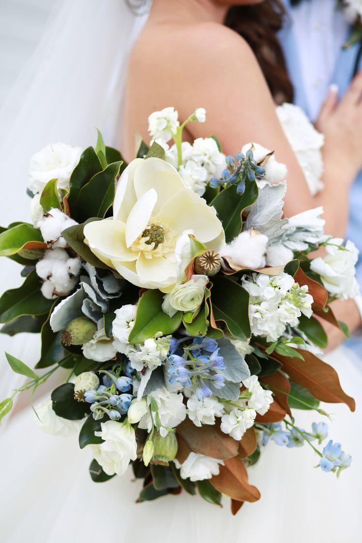 Southern bridal bouquet, magnolias, cotton, light blue wildflowers, white floral wedding bouquet // Jessica Lee Photographic Art