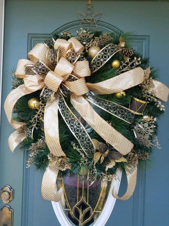 XL Christmas Wreath / Lighted Christmas Wreath / Gold and Black ...