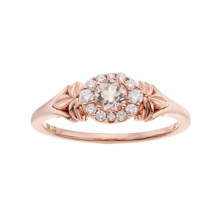 LC Lauren Conrad 10k Rose Gold Morganite & 1/8 Carat T.W. Diamond Flower Ring, Women's, Size: 6, Pink