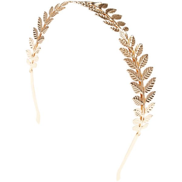 Golden Goddess Vine Headband ($7.90) ❤ liked on Polyvore featuring accessories, hair accessories, hats, head, headwear, gold, headband hair accessories, leaf hair accessories, hair bands accessories and thin headbands
