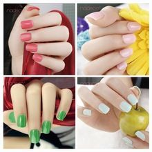 2015 Gradient Round gloss false nails decorated French unghie finte fake full cover press on faux ongles art decoration patch(China (Mainland))