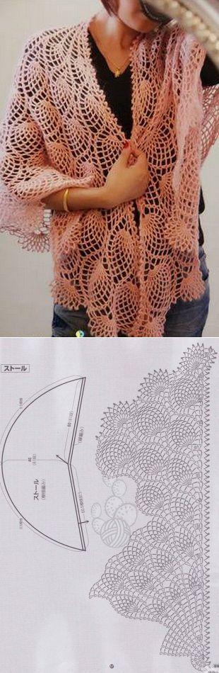 Описание вязания шали крючком