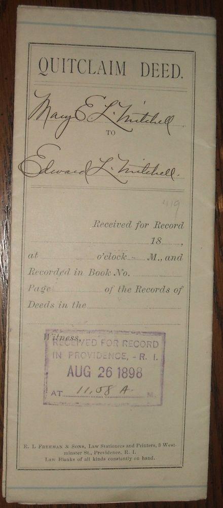 1898 Quitclaim Deed Mary E.L. Mitchell Eddy St. Elm St. Providence RI Genealogy