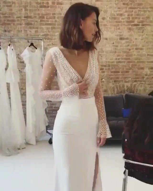 Gimme texture ✨ How fun is this dotted number?? Love the side slit and sleeves on this sleek @rimearodaky look. Would you wear this on your big day? ✨ Tag someone you know who would love this! More dresses on our site, link in bio. . . . #weddingdress #weddinghair #weddinghairstyle #bridetobe #weddinggown #weddinginspiration #weddingfashion #weddingday #fantasybride