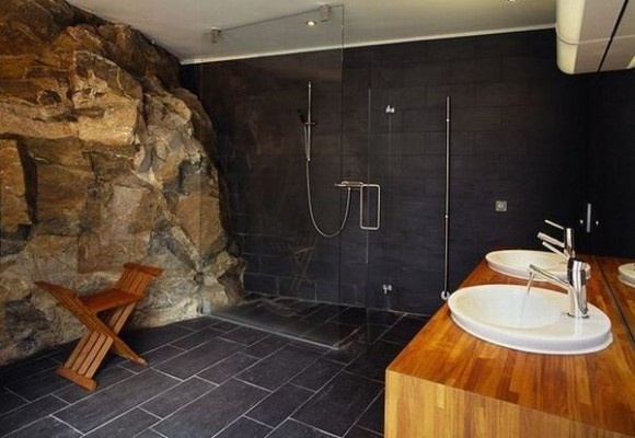 Minimalist and Unique Bathroom - Residence Built From Solid Cliff Rock