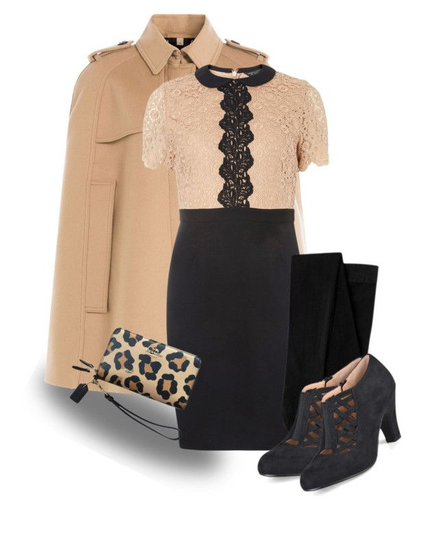 """Winter Work Wear - 5 or less"" by curvygirlamy ❤ liked on Polyvore featuring Burberry, Dorothy Perkins, Journee Collection and Coach"