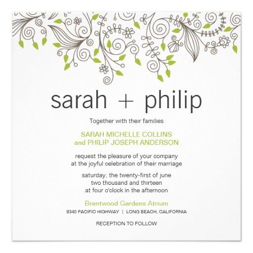 Casual Floral Fancy Swirls Wedding Invitations