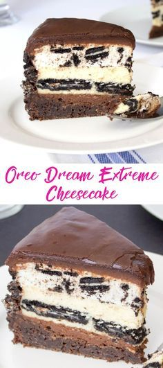 Oreo Dream Extreme Cheesecake - The Cheesecake Factory copycat recipe. A rich and fudgy chocolate cake topped with layers of chocolate ganache, Oreo cookie cheesecake, and an Oreo cookie mousse. Decadent and delicious!!