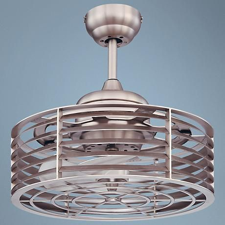 This sleek, satin nickel retro style caged ceiling fan for your home, from the Savoy House ceiling fan collection.