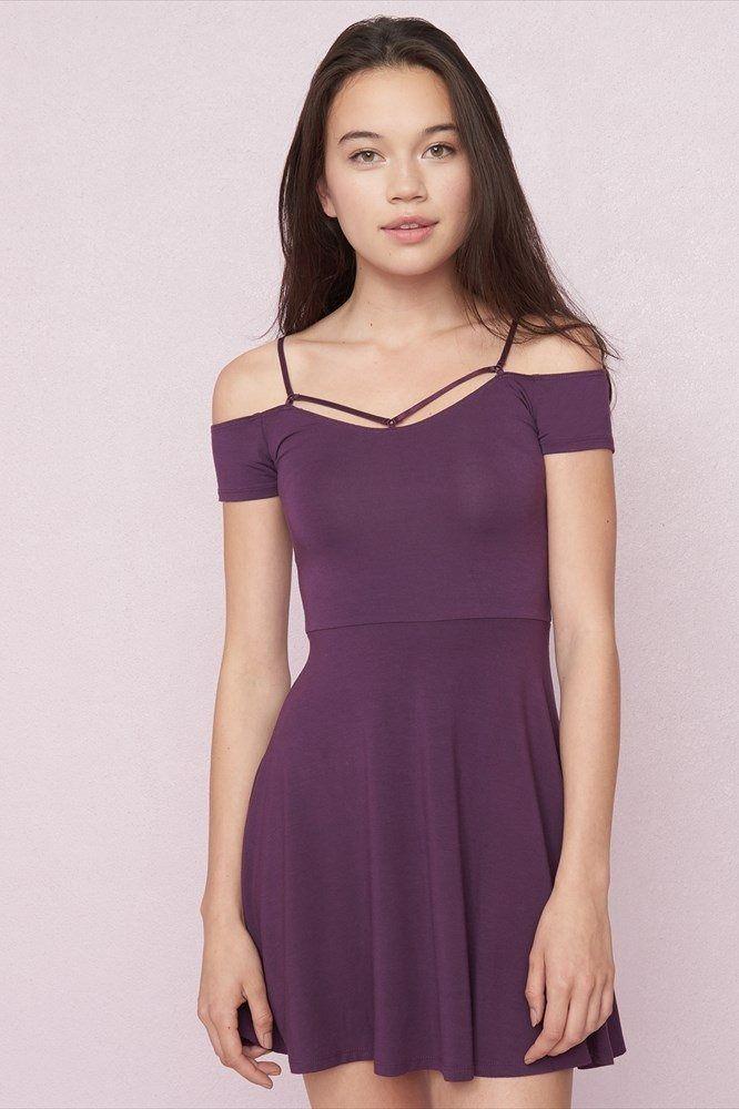Strappy Off-Shoulder Fit & Flare Dress