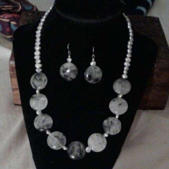 """SALE!  Handcrafted Tourmalinated Quartz Nk/Er 925S BEAUTIFUL, New...One of a Kind, Artisan Handcrafted *Tourmalinated Quartz* Nk w/ Freshwater Silver Pearls in S/P & Tourmalinated Quartz w/Freshwater Silver Pearl Earrings Set in 925 Sterling Silver...Nk is 17 1/4"""" + 2"""" Extender, Earrings 1 1/4"""". *Tourmalinated Quartz is a Clear, Off White Quartz Which Has Pieces of Black Tourmaline Within it...These Crystals Are Said to Have Strong Metaphysical Properties!... Comes With a Packaged, Anti…"""