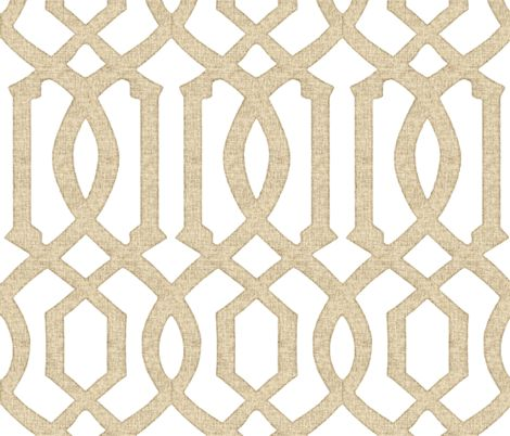 for the bookcase behind the shelves if you don't want to do mirror  Victoria Trellis in Linen on White fabric by sparrowsong on Spoonflower - custom fabric