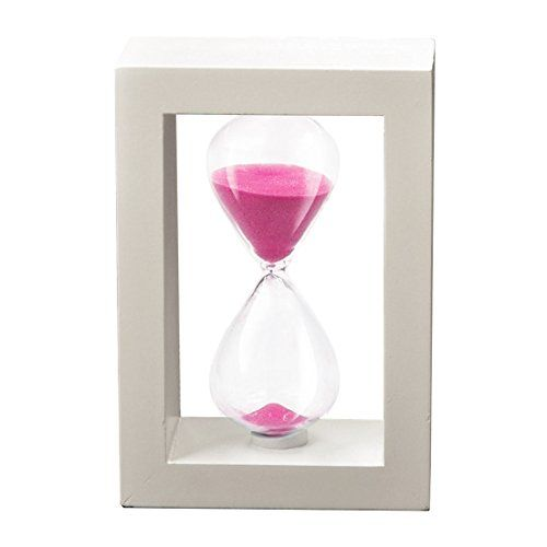 SZAT Hourglass Sand Timer Clock Romantic Mantel Office Desk Coffee Table Book Shelf Curio Cabinet Christmas Birthday Present Gift Box Package(Pink, Photo Frame,30 Minutes)