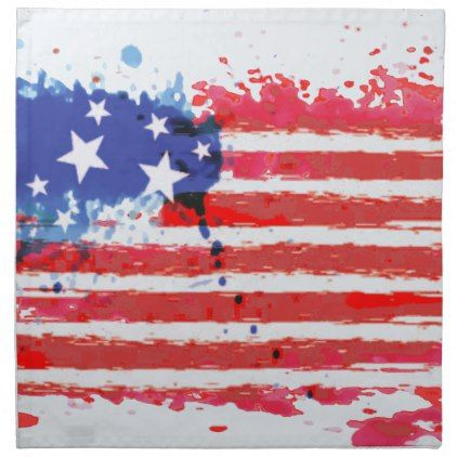 #watercolor grunge American Flag Napkin - #LaborDay Labor Day #labor #day #patriotic #summer #barbecue #bbq #party