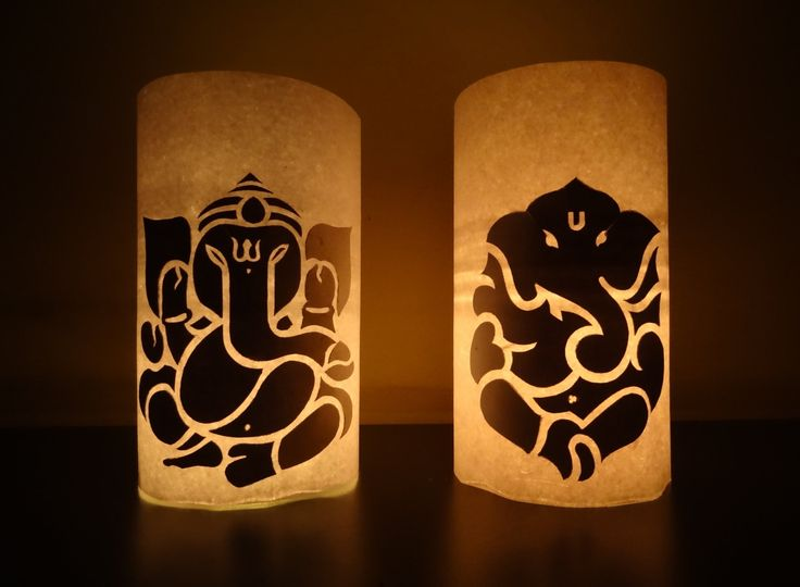 Paper Crafts (Diwali Decoration Ideas) : Candle illuminated Lord Ganesha : Home …