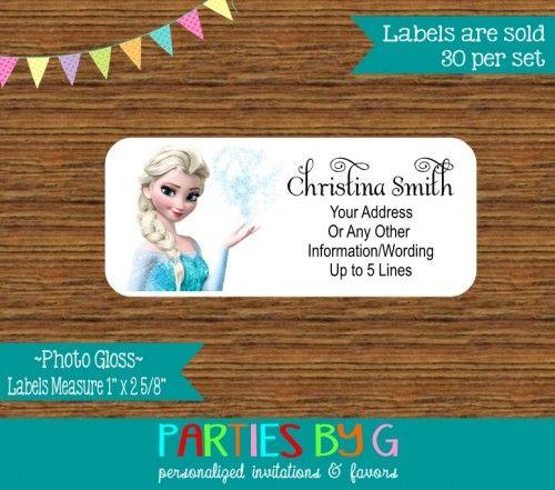 Frozen Elsa Return Address Gloss Labels Personalized Custom