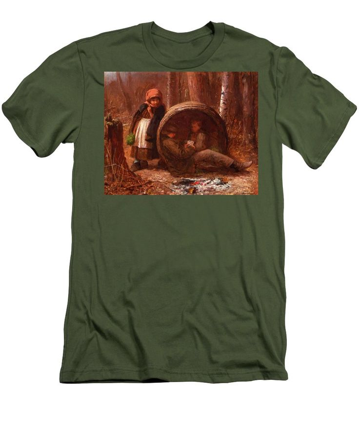 The Men's T-Shirt (Athletic Fit) featuring the painting The Eavesdropper 1866 by Johnson Eastman