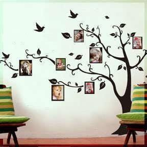 Living Room Wall Decals: LARGE Black Photo Picture Frame Tree Vine Branch  Removable Wall Decor