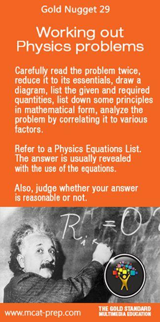 MCAT study tips for MCAT Physics, Gold Standard MCAT Prep http://www.mcat-prep.com/