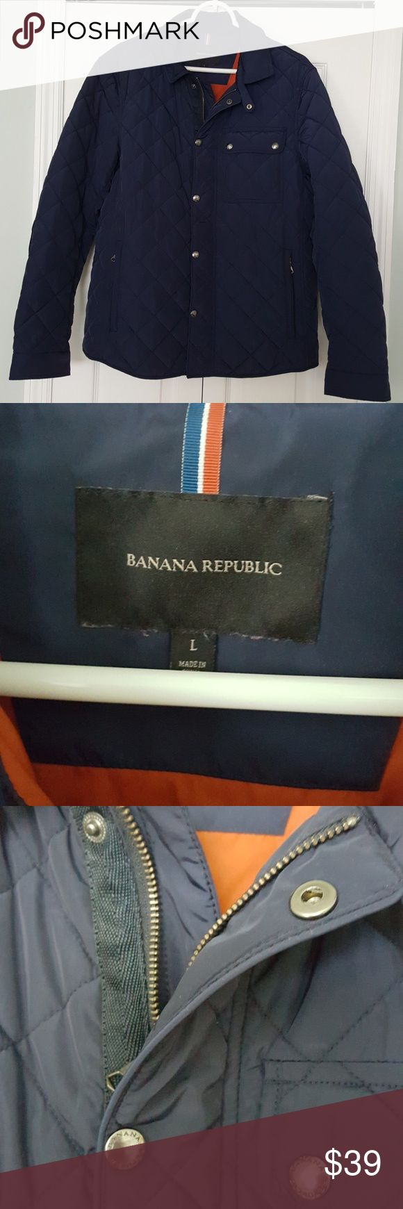 Men's puffer coat by Banana Republic Gorgeous navy puffer coat with orange interior lining by Banana Republic. This coat is NOT down filled. Great detail on back of sleeve as pictured. See tag for fabric composition. EUC Banana Republic Jackets & Coats Puffers