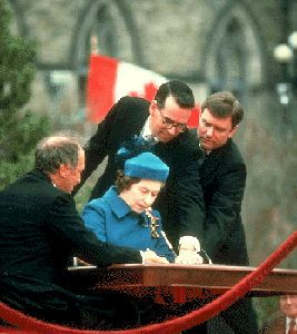 Canada Act Passed Mar 8, 1982 - The British House of Commons passed the Canada Act of 1982. It was adopted by the House of Lords on March 25. The Act ended British legislative jurisdiction over Canada. Queen Elizabeth II signed the proclamation in Ottawa on April 17.
