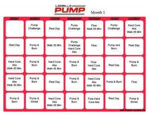 Les Mills Pump Workout Calendar to learn more contact me at www.beachbodycoach.com/sarahn123