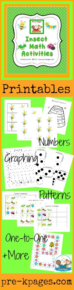 Printable Insect Math Activities for pre-k and kindergarten