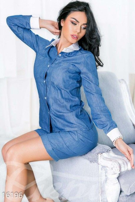 Gepur | Лёгкий джинсовый костюм арт. 16196 Цена от производителя, достоверные описание, отзывы, фото