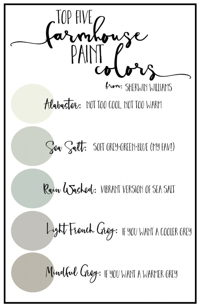 Find your perfect farmhouse hue with this go-to paint color guide. This list has it all. Want the perfect gray paint? What about a soft grayish-blue with just enough light? You can never go wrong with a warm white, either. Love these colors!