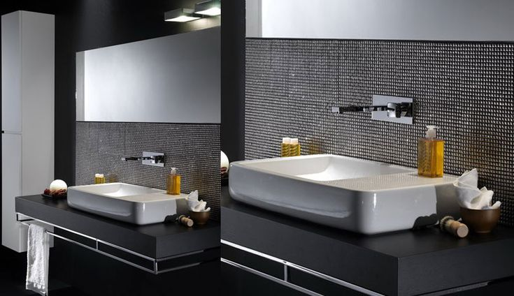 Beutiful White Bathroom Sink with Tile Wall Decor: Beutiful White Bathroom Sink with Tile Wall Decor