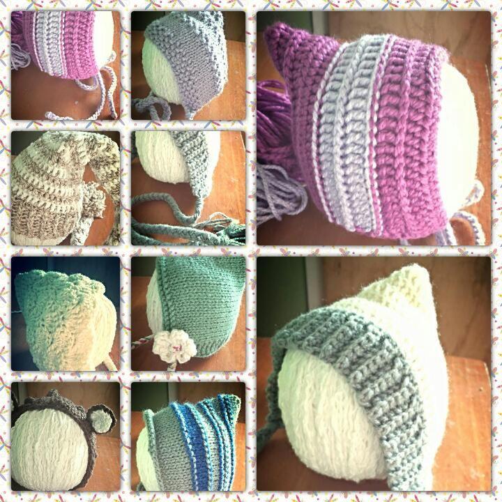 diversos gorritos para recién nacido en lana tejida a palillos y crochet