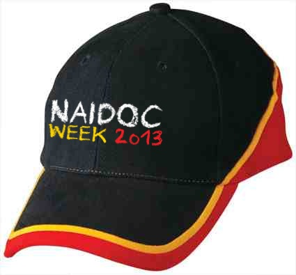 Naidoc Caps - Customised with your business or event logo. http://promocorner.com.au/aboriginal-clothing/