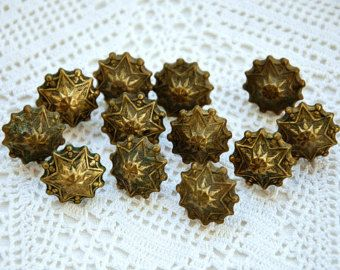 Vintage French upholstery tacks, 12 ornate tacks, upholstery nails, brass tacks, upholstery pins, crafts, mixed media, French antiques