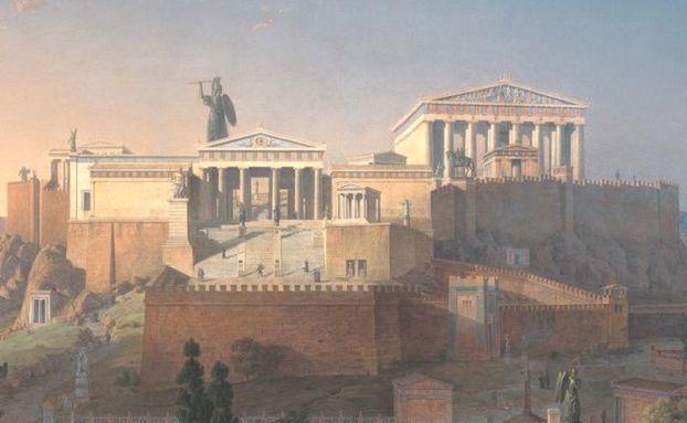 Ricostruzione dell'acropoli di Atene, in cui è visibile la statua di Atena Promachos, in bronzo e alta circa nove metri. La statua era ricoperta con il peplo tessuto dalle arefore ed è tuttora dispersa. Accanto alla statua, che fu opera di Fidia, svetta il Partenone, davanti ad essa sono invece visibili i propilei.