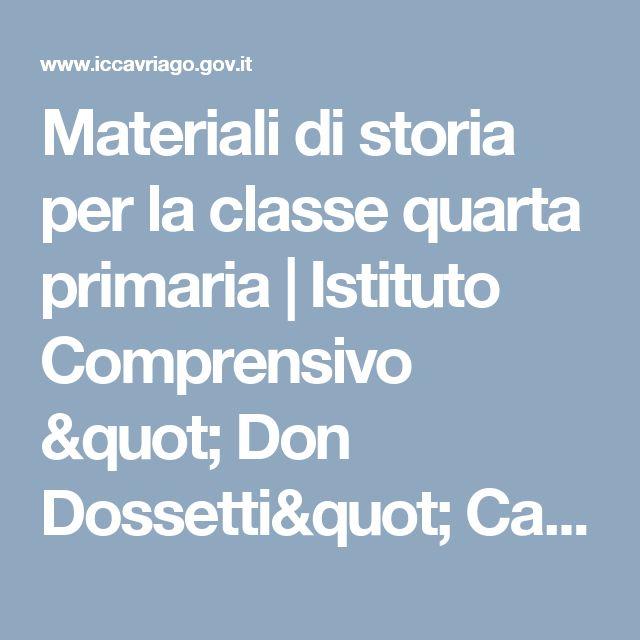 """Materiali di storia per la classe quarta primaria   Istituto Comprensivo """" Don Dossetti"""" Cavriago"""