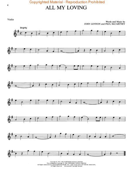 """All My Loving"" the Beatles violin sheet music"