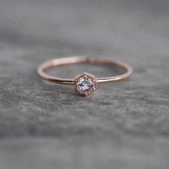 Morganite ring, solid 14k gold ring, fine jewelry ring, morganite engagement ring, gold promise ring, dainty ring, hexagon ring – Nadine Allerding