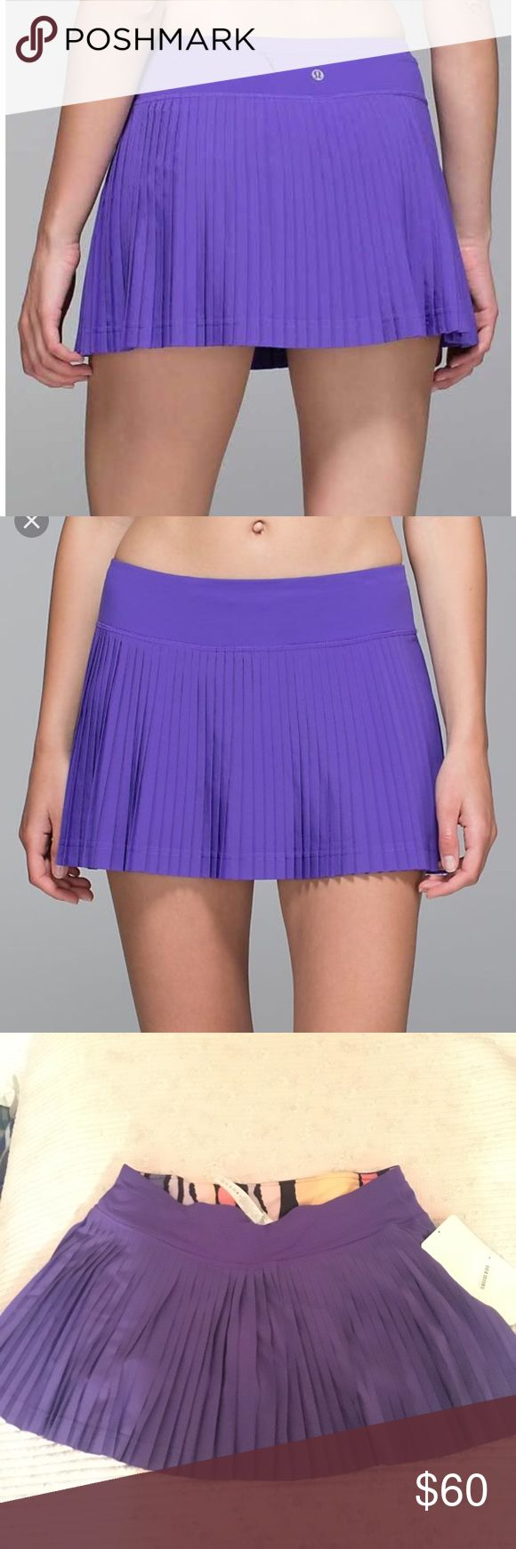 """Lululemon Pleat To Street Skirt (Skort) II NWT Lululemon brand, BNWT, """"Pleat To Street"""" Skirt with built in shorts, size 6.  Bought for golf or tennis but it's too big for me :(   Designed to take us straight from sweat dates to coffee dates! Swift Ultra Light fabric is lightweight and sweat-wicking with four way stretch. Wide Light Luxtreme fabric waistband lies flat under your Top. Built in Light Luxtreme fabric liner with silicone grip at hem and pockets. Signature 3 pocket waistband with…"""