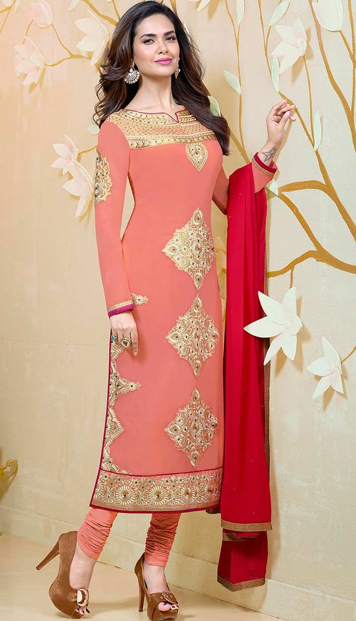 Buy Online Bollywood Latest Baby Pink Georgette Pakistani Dresses at affordable price with efello.com.